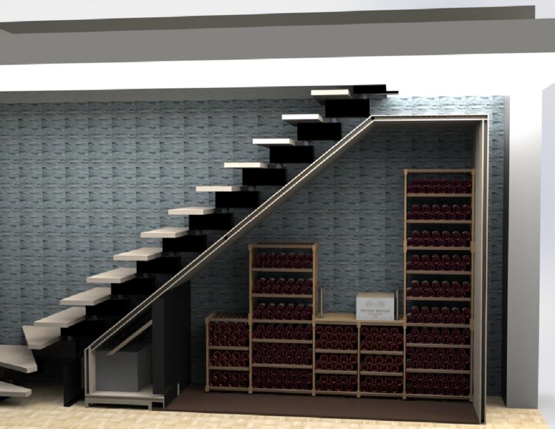 Armoire à vin sous escalier